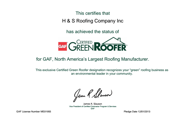 H & S Certified Green Roofer